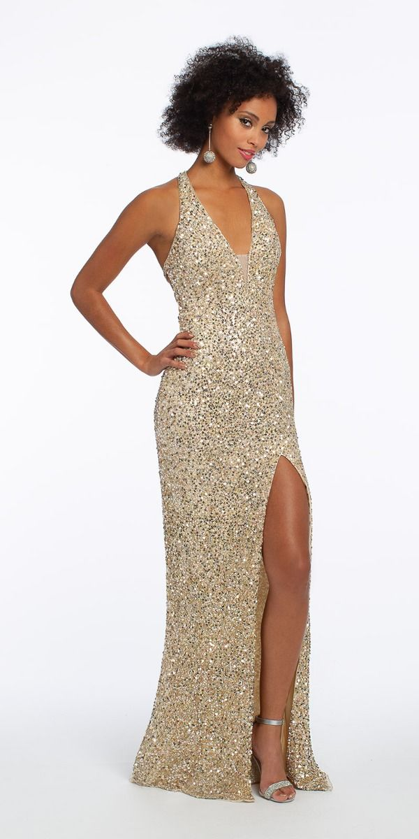 38e0634664106 Sequin Halter Strappy Racer Back Dress from Camille La Vie and Group USA