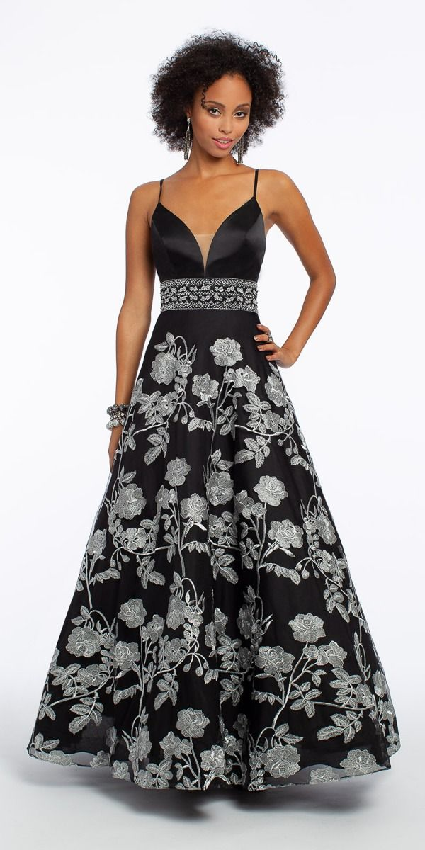 90c11d4a Satin Plunge Floral Embroidered Ball Gown from Camille La Vie and ...
