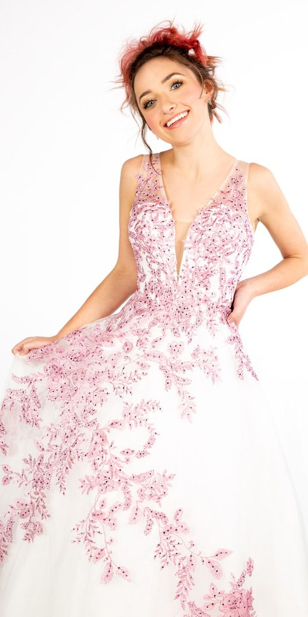 563ea40b1f9 Embroidered Illusion Plunge Ball Gown from Camille La Vie and Group USA