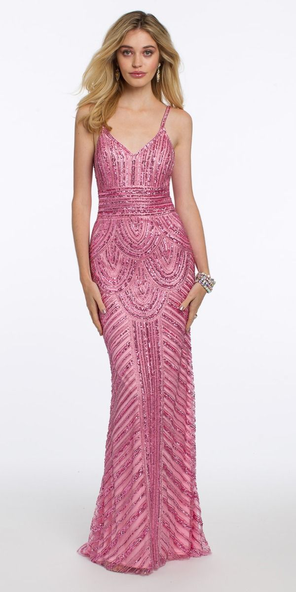 fafb67d5200 V-Neck Scallop Sequin Evening Dress from Camille La Vie and Group USA
