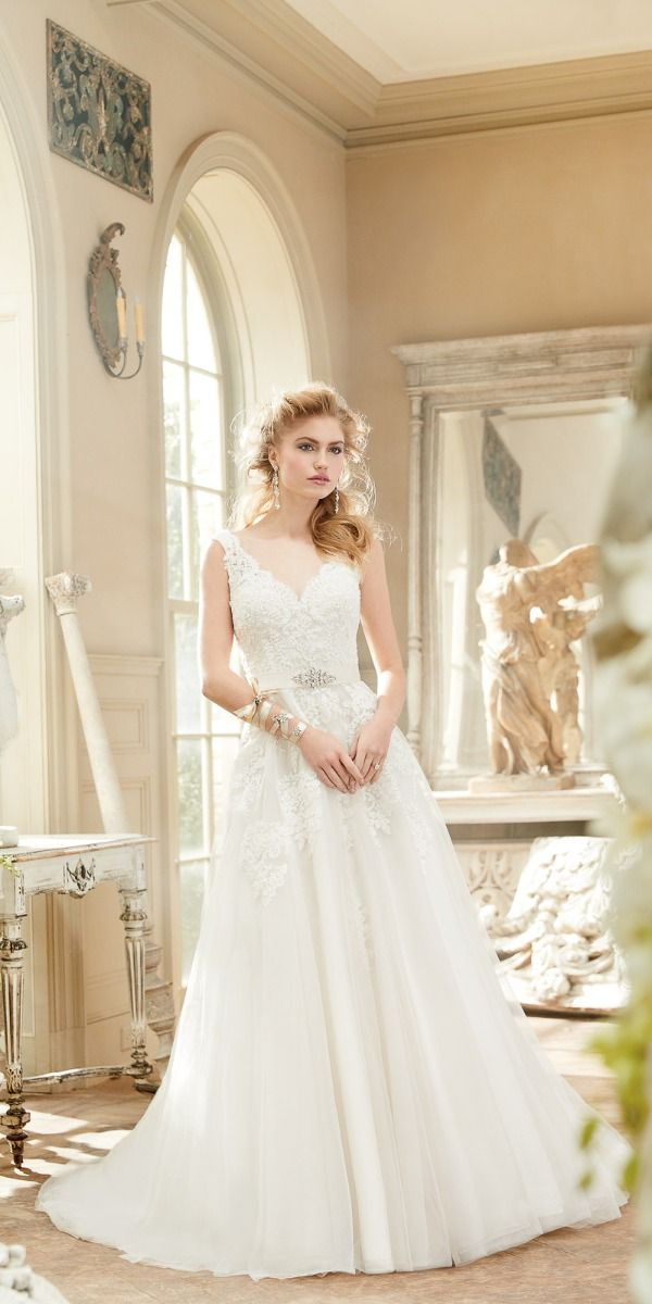 6d3a78f38c989 Scallop Sweetheart Cap Sleeve Beaded Organza Wedding Dress. Hover to zoom
