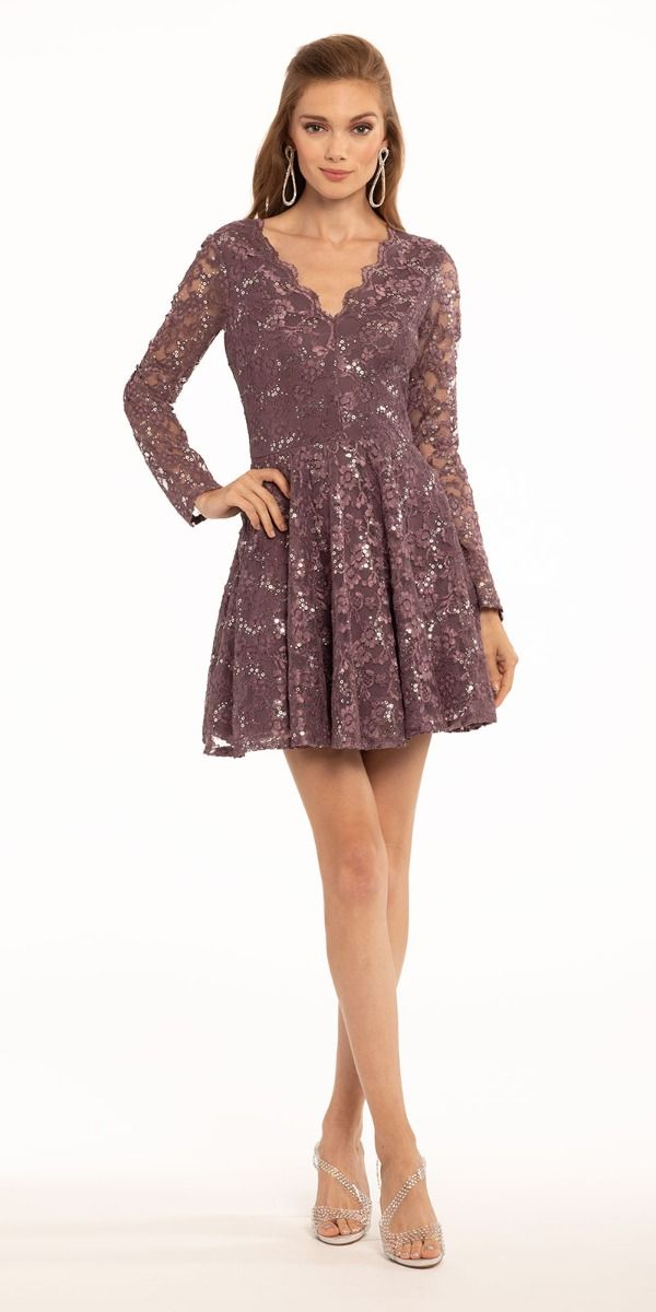 Long Sleeve Sequin Lace Double V Dress