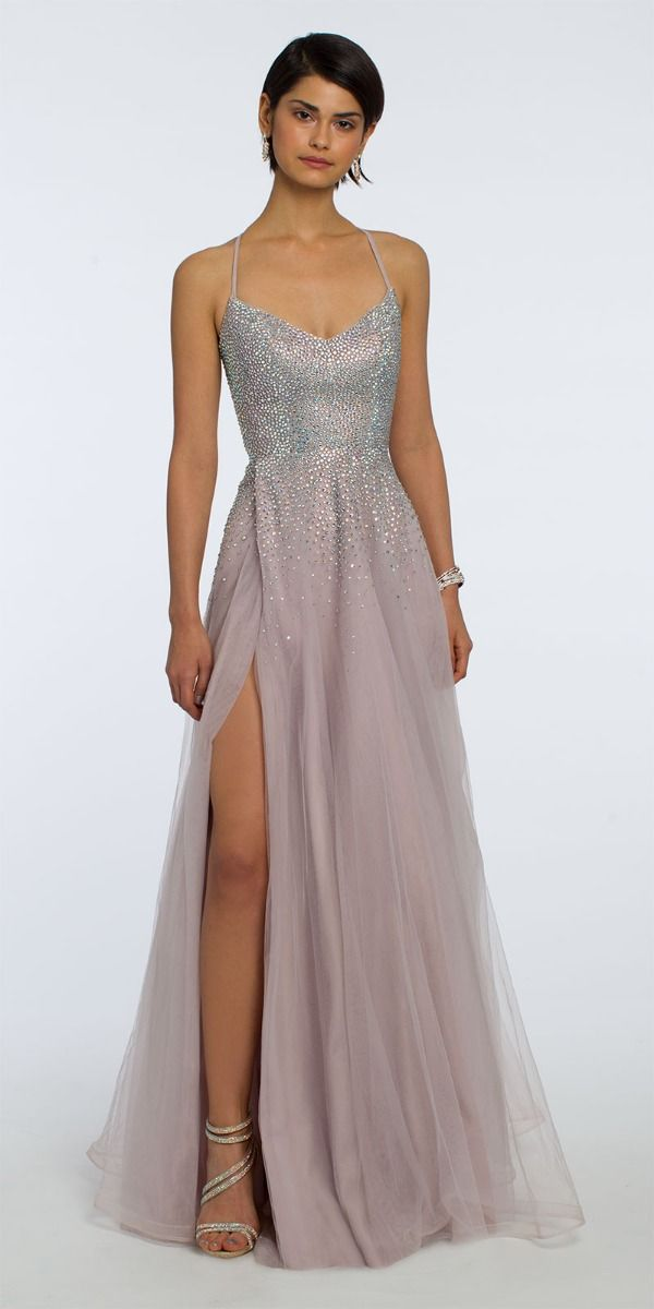4eaa55368 Spaghetti Straps Side Slit Open Back Ball Gown from Camille La Vie ...