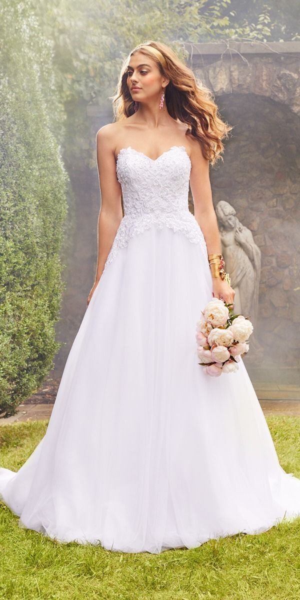 Embroidered Strapless A Line Wedding Dress