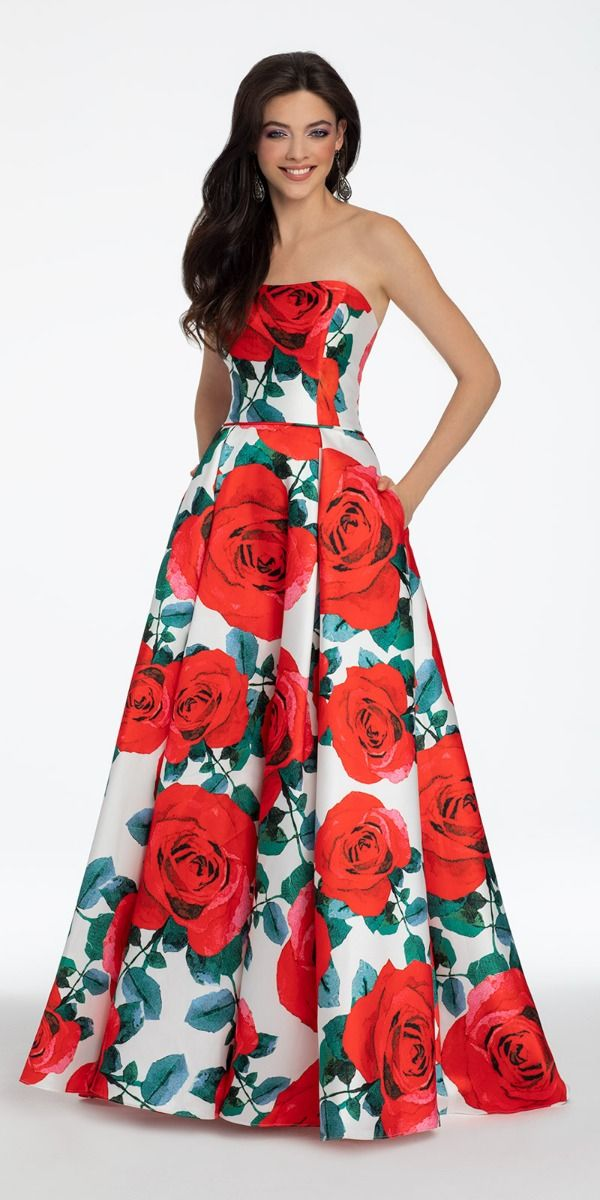 a53da7d09e Strapless Rose Print Mikado Ball Gown from Camille La Vie and Group USA