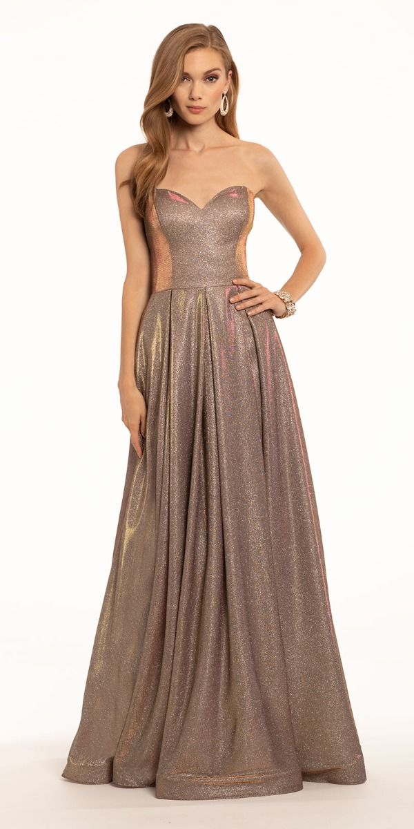 Two Tone Metallic Strapless Lace Up Horsehair Ball Gown