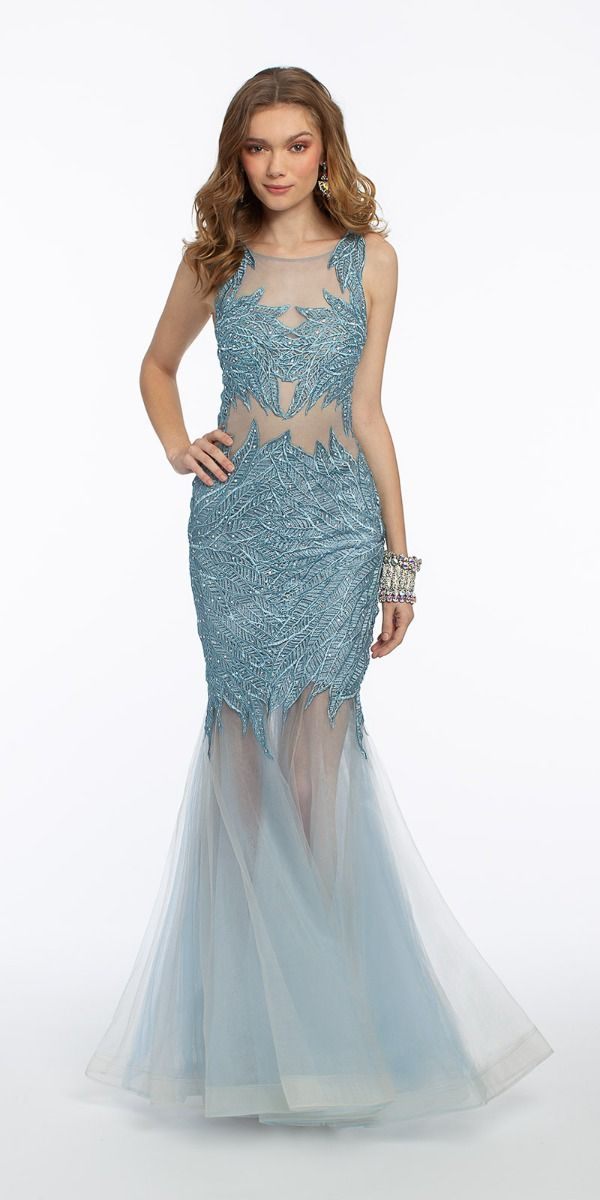 Embriodered Leaves Mermaid Godet Dress from Camille La Vie and Group USA