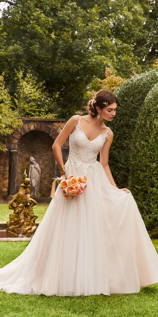 Embroidered Wedding Dress.Floral Embroidered Tulle Ball Gown