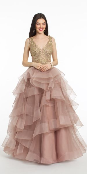 2592437a637a V Plunging Tulle and Lace Ball Gown