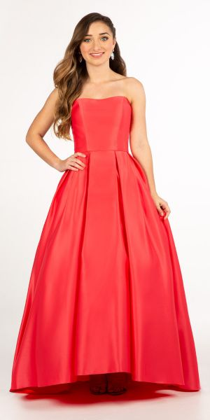 c5f277aa073 Satin Strapless High Low Ball Gown with Pockets