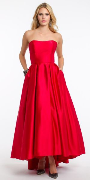694267e91b1 Strapless Satin High Low Dress