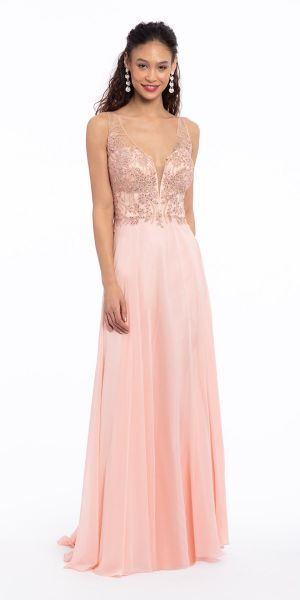 f16f5051ead Beaded Applique Chiffon Dress