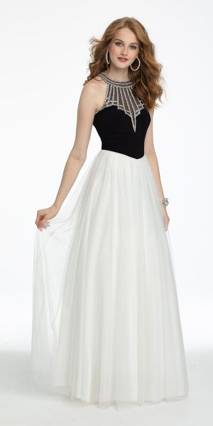 ac4f873d89e Rhinestone Illusion Halter Neck Tulle Prom Dress