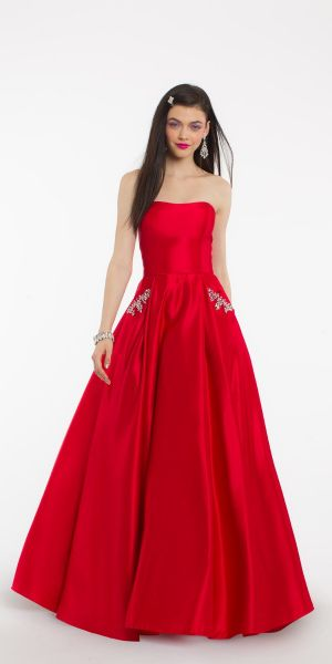 c9027b101c Strapless Beaded Pocket Dress