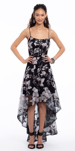 6ab18e47df0e Floral Embroidered Mesh High Low Dress