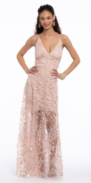 ba84ebc16d6 V-Neck Petal Embroidered Trumpet Dress