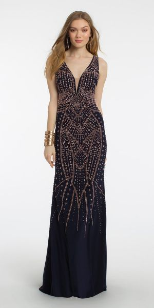 068ce90258f Tank Illusion Plunging Neckline Deco Beaded Dress