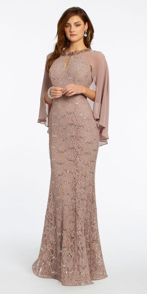 51b267f88037 Sequin Lace Cape Dress