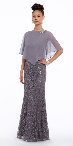 d4cbe089d8e Sequin Lace Dress With Beaded Trim and Capelet