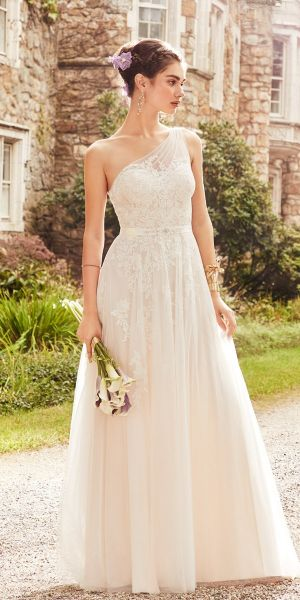 d2fd1cd3c7b Tulle Lace One Shoulder A-Line Dress