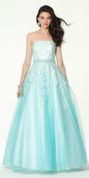 7ef1f6188b8 Embroidered Applique Tulle Ballgown