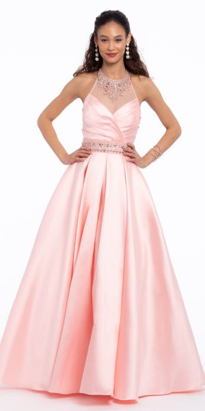 16517ee949b Beaded Illusion Mikado Box Pleat Ball Gown