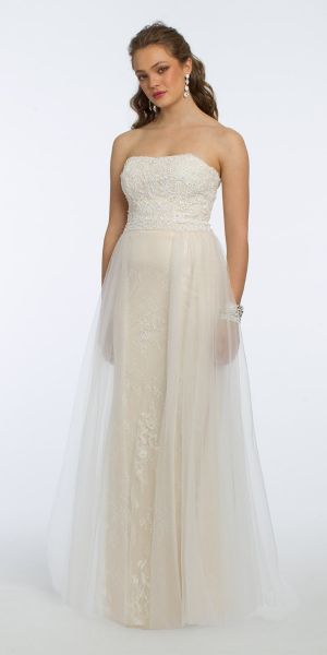 f24e17ed7346 Strapless Applique with Overlay Skirt