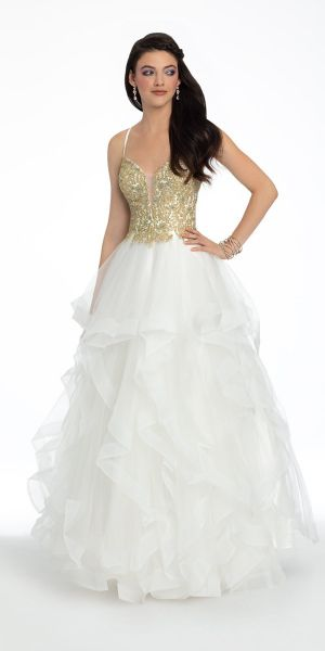 90854e3ddd4 Tiered Tulle Beaded Horsehair Ball Gown
