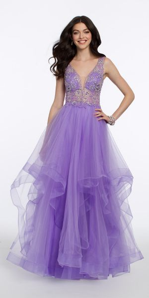 bec1a9fe8bf Tank Plunge Illusion Ball Gown