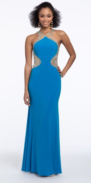 f1e324d5bc Beaded Halter Illusion Neck Jersey Dress