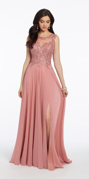 15bf43db0c6d Metallic Embroidered V Open Back Chiffon Dress