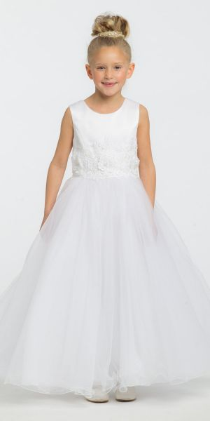 e09037b4a831 Satin Tulle 3D Embroidered Flower Girl Dress