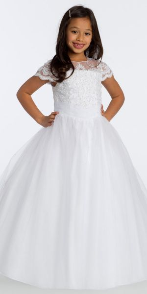 ef78ad853a33 Illusion Lace and Tulle Flower Girl Dress