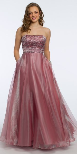 ec639f162 Strapless Metallic Organza Ball Gown