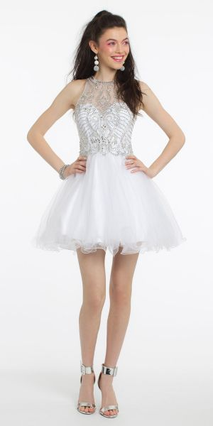 b9859fe3fbc2 Beaded Illusion Tulle Wire Hem Dress