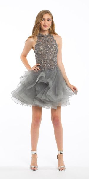 10f7e9051e17 Illusion Applique Halter Tulle Dress