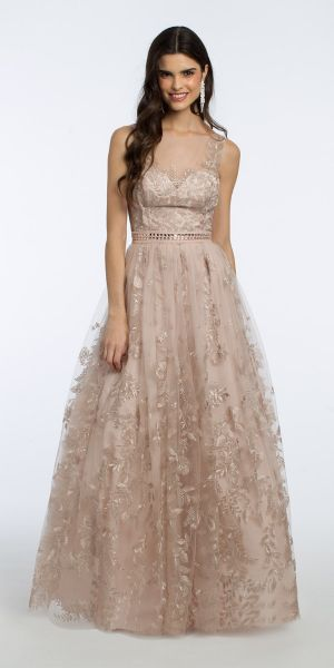 ae20408be Floral Embroidered Illusion Neck Ball Gown
