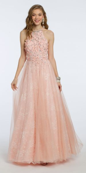 3c458f3f7 Three D Flower Halter Lace Ball Gown