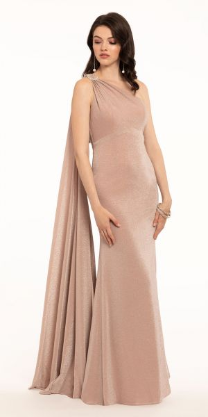 51cce10ce Metallic Knit One Shoulder Dress With Strappy Cascade Back