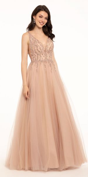 8b9a30892 Crystal Beaded V-Neck Tulle Ball Gown