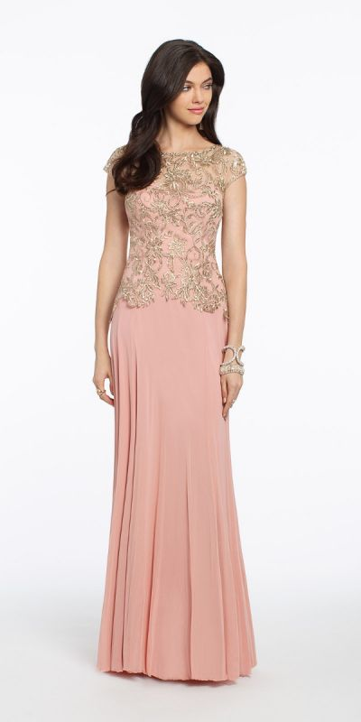 236dea96154 Metallic Embroidered Cap Sleeve Mesh Dress from Camille La Vie and ...